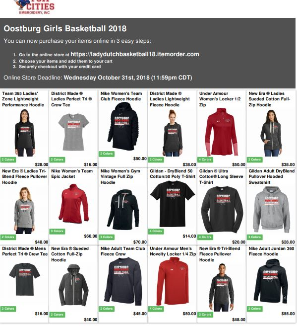 2018 Lady Dutch Basketball Store