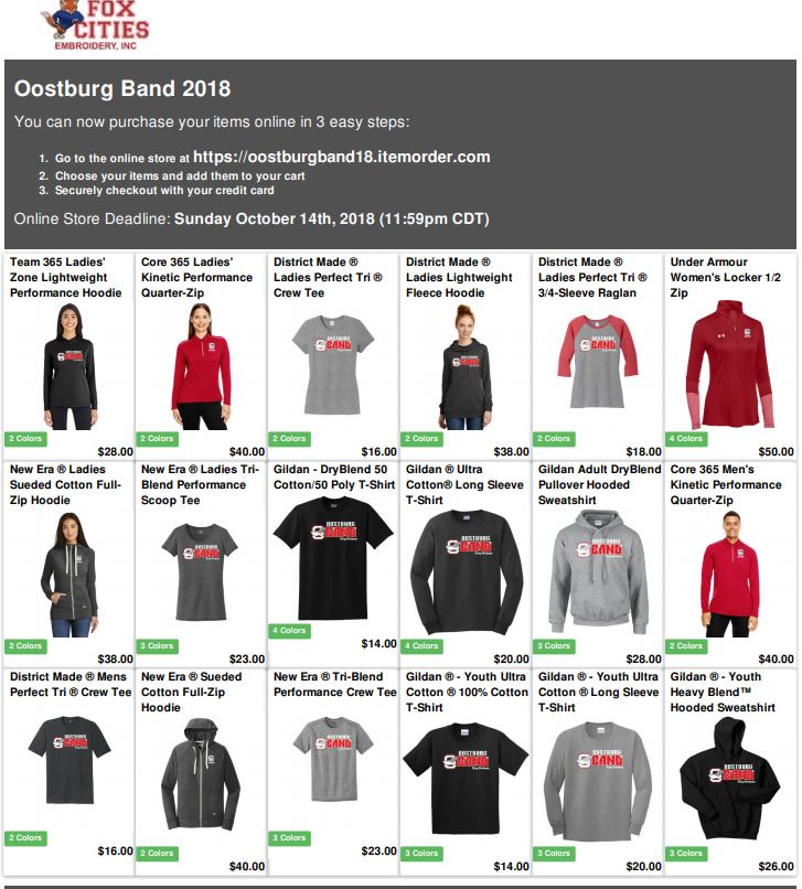 2018 Band Apparel Store