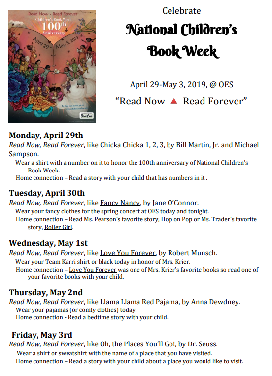 Book Week Schedule